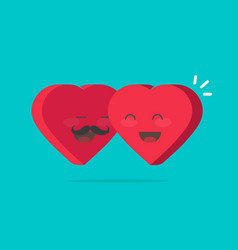 two happy hearts hugging flat vector image vector image