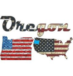 USA state of Oregon on a brick wall vector image