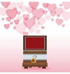 Valentine day wooden chest open hearts background vector