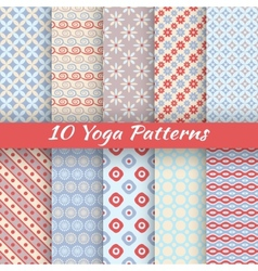 10 Yoga seamless patterns tiling vector image