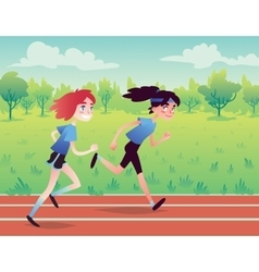 Cute Girls Running on the Park Road vector image