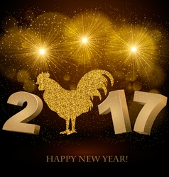 New year 2017 golden background vector