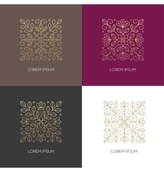 Four square linear floral logo vector