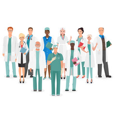 hospital medical staff team doctors together vector image