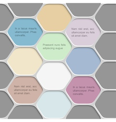 Colored honeycomb pattern background vector