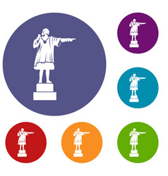 Columbus monument icons set vector