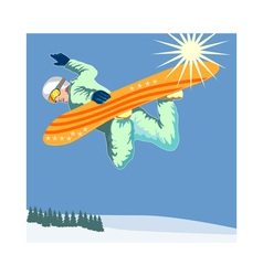 Snowboarding on air vector