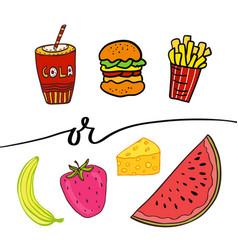 Healthy and unhealthy food doodle street food vector