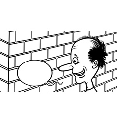 Talking to a brick wall cartoon vector