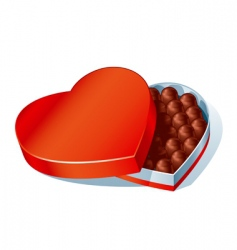 Chocolate heart box vector