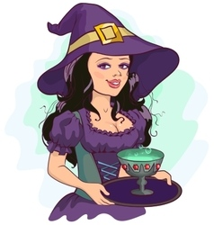 Beautiful girl witch holds potion cup on a tray vector