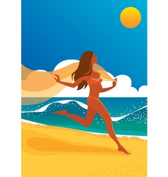 Woman running on beach vector