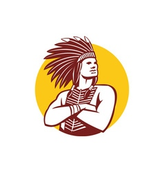 Native american indian chief warrior circle retro vector