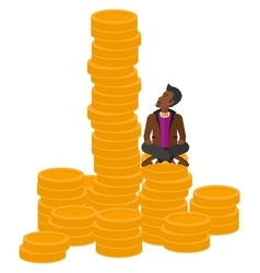 Businessman sitting on gold vector