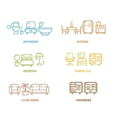 Colorful icon room furniture outline vector