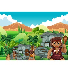 Cave people living together in the stonehouse vector