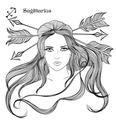 Astrological sign of sagittarius as a lovely girl vector
