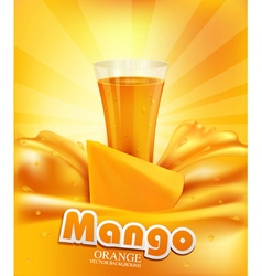 Background with mango a glass of juice slices of m vector