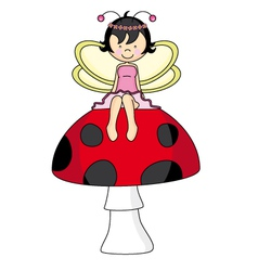 Fairy sitting on a mushroom vector image