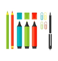 School tools supplies isolated on white vector image