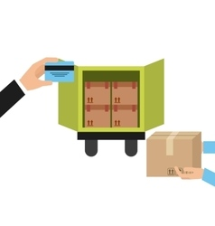 Truck and package icon delivery and shipping vector