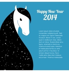 Happy new year card for 2014 year of horse vector