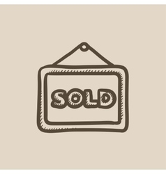 Sold placard sketch icon vector