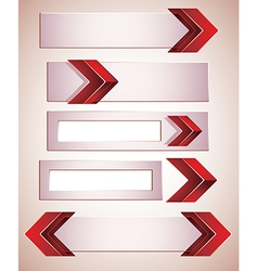 3d banners finished with red arrows vector image