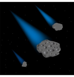 Asteroids in cosmos vector