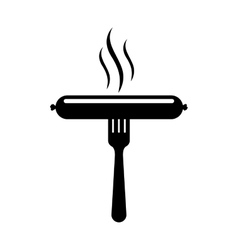 Black silhouette fork with sausage and aroma vector