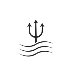 black trident icon with waves vector image