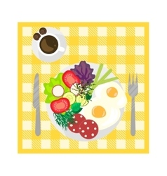 Breakfast on tablecloth top view vector image