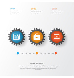 Business icons set collection of diagram vector