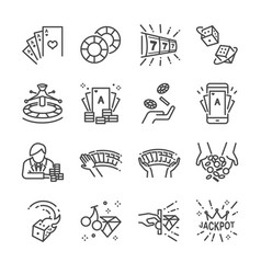 casino and gamble line icon set vector image vector image