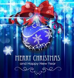 Christmas ball with bow vector