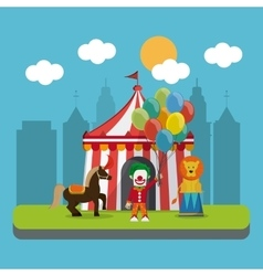 Circus lion and horse design vector