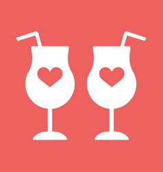Cocktail wine champagne glass hearts vector