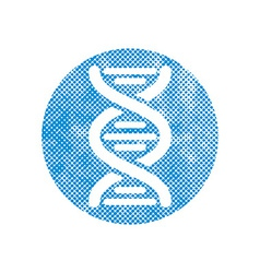 Dna icon with pixel print halftone dots texture vector