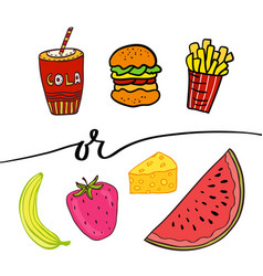 Healthy and unhealthy food doodle street food vector