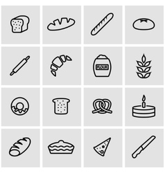 Line bakery icon set vector