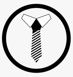 necktie icon black white vector image vector image