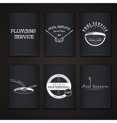 Pool Service Clean and Repair Set of Typographic vector image vector image