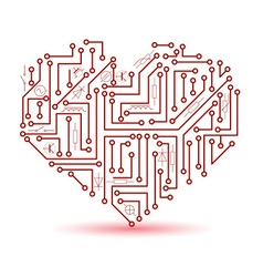 Printed red electrical circuit board heart symbol vector