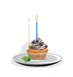realistic cupcake with candles and berries vector image vector image