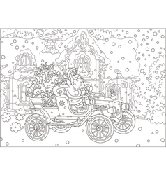 Santa driving a car with gifts vector