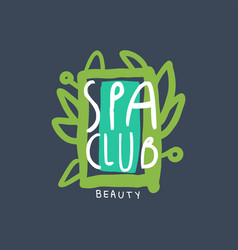 spa and beauty club logo emblem for wellness vector image vector image