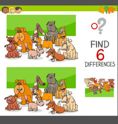 Spot the differences with dogs or puppies vector