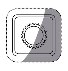Sticker monochrome square frame with sun close up vector