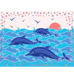 Three dolphins in the sea waves vector