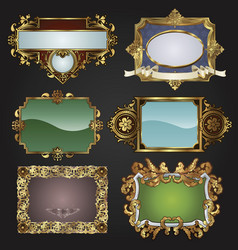 vintage retro gold frames and labels vector image vector image
